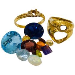 金 - 宝石が取れた指輪