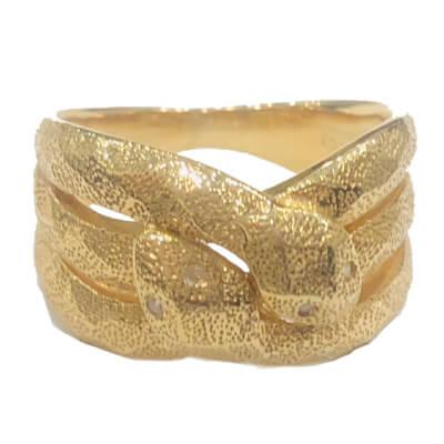 金 - 18金 デザインリング ダイヤ付