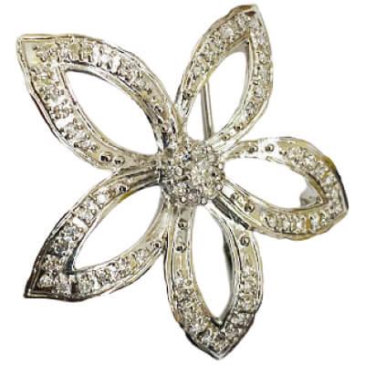プラチナ - プラチナ ダイヤ付きブローチ